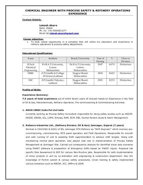 Resume For Process Safety Engineer by Process Safety Engineer Cover Letter