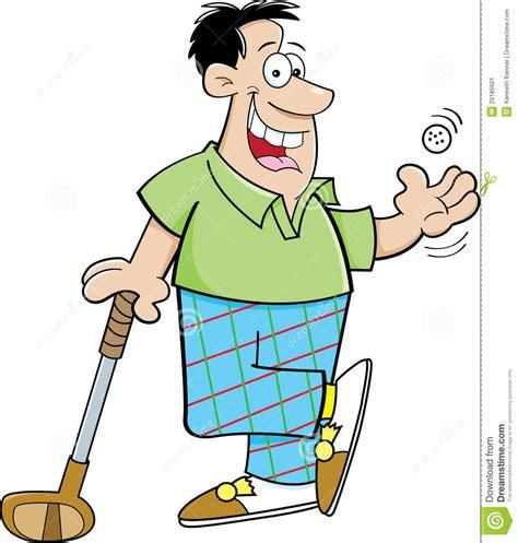 Cartoon Man Playing Golf