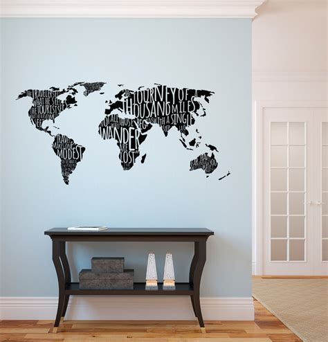 world map with travel quotes wall decal