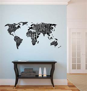 world map with travel quotes wall decal With kitchen cabinets lowes with world map wall art stickers