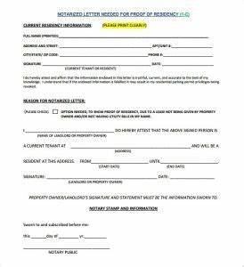Texas Notary Format Proof Of Residency Letter Notarized Template Business