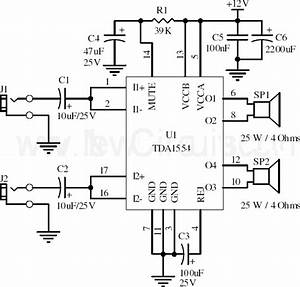 circuit 22w stereo amplifier using tda1554 xtronic With 22w mono amplifier circuit diagram