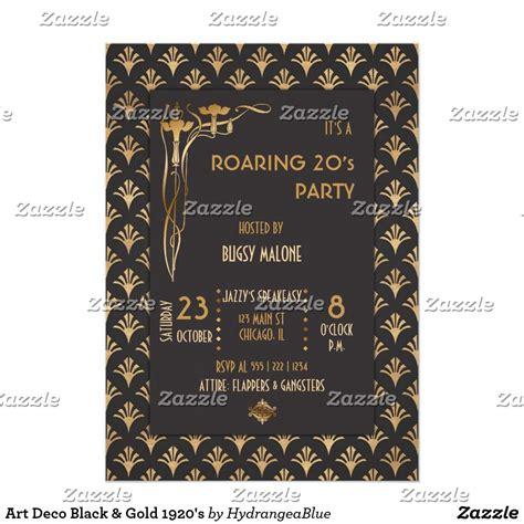 Art Deco Black & Gold 1920's Invitation Zazzle com Art