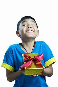 Asian Kid Feel Happy When Get A Present With Funny ...