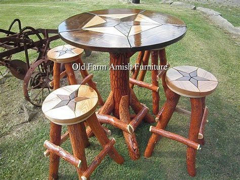 log table and chairs custom made rustic log quot star design quot bar pub table with