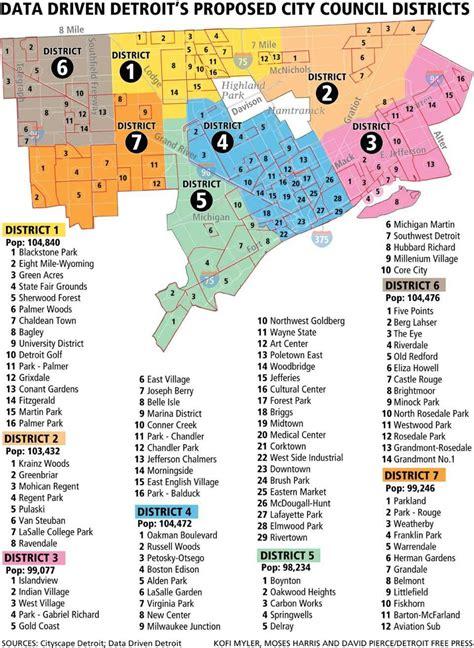 detroit neighborhood map map  detroit neighborhoods
