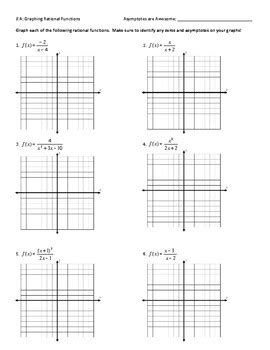 graphing rational functions worksheet answer key by