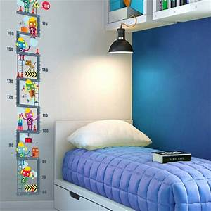 Growth Chart Cartoons Robot Upstairs Height Measure Wall Sticker For