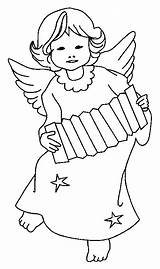 Accordion Angel Digi Stamps Playing Paper Coloring Dolls Christmas Pages sketch template