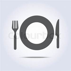 Fork knife and plate icon in vector | Stock Vector | Colourbox