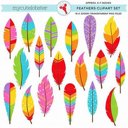 Feathers Clipart Rainbow Clip Patterned Tribal Feather