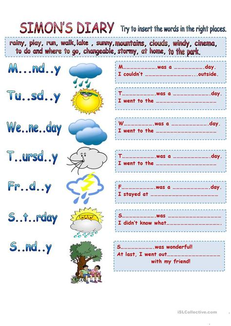 weather learning worksheets weather types learning past simple vocabulary worksheet