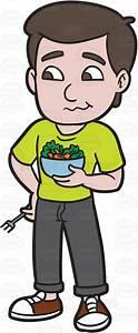 A Man Eating A Bowl Of Salad Cartoon Clipart - Vector Toons