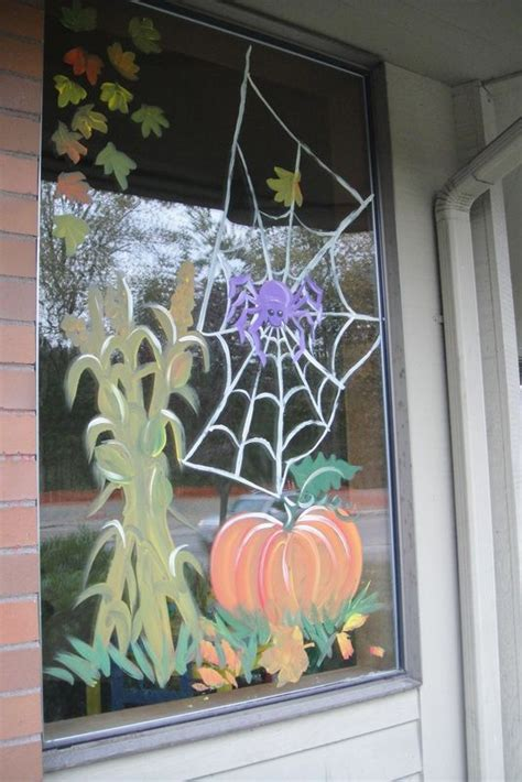 autumnhalloween window design window painting art