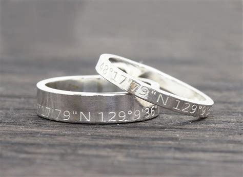 wedding ring location personalized latitude longitude jewelry coordinates ring