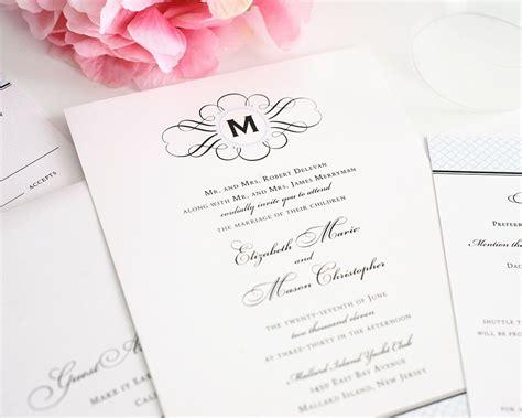 Vintage Wedding Invitations with Monogram and Blue