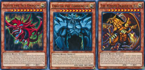 Obelisk The Tormentor Deck Build by Set Of All 3 Playable God Cards Slifer Obelisk