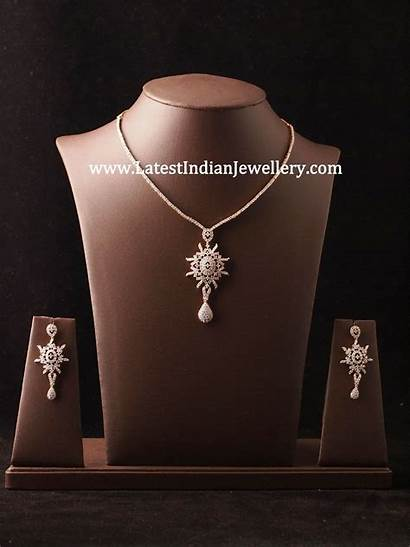 Simple Diamond Necklace Sets Jewellery Stylish Indian