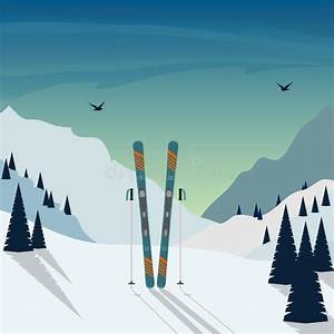 Boy Is Standing With His Skis Against The Background Of ...