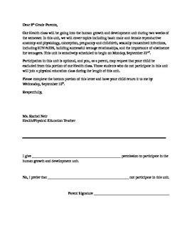 parent permit letter sexuality education tpt