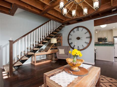 living room small and wooden staircases brick wall design photos hgtv