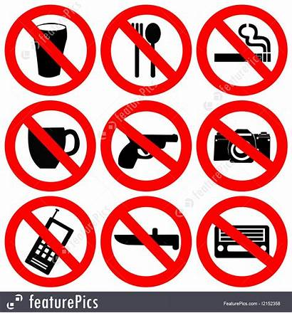 Prohibited Signs Illustration Weapons Smoking Drinking