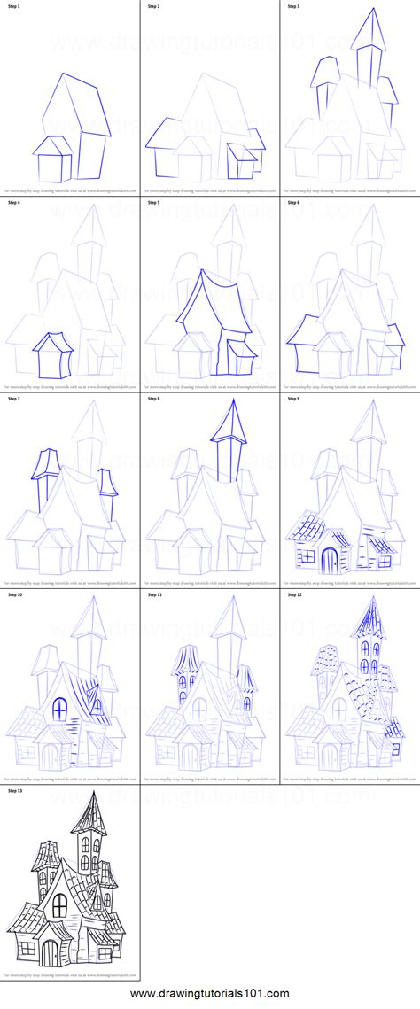 draw  spooky haunted house printable step  step