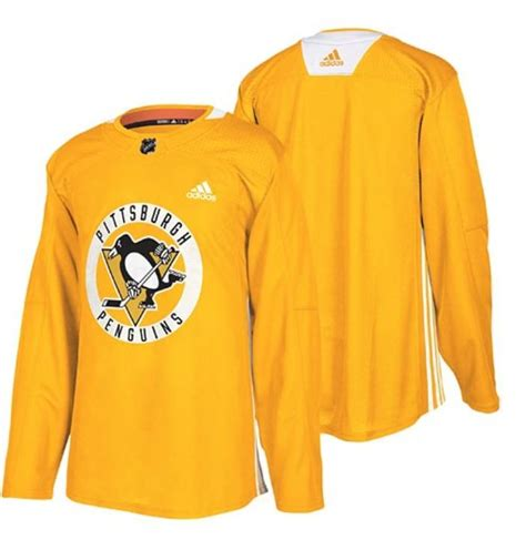 Pittsburgh Penguins Adidas Authentic Practice Yellow Jersey
