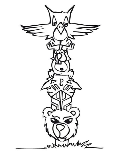 cartoon  animal totem poles coloring page kids play