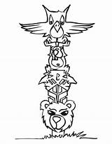 Totem Coloring Poles Animal Pole Cartoon Drawing Wolf Snake Totems Templates Printable Sheets Drawings Craft Native sketch template