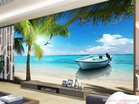 maldives sea beach coconut tree view mural  wallpaper