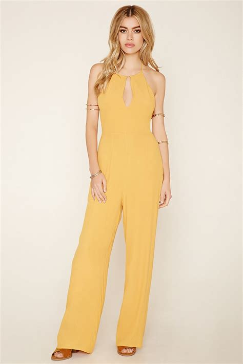 womens yellow jumpsuit forever 21 lace up crepe jumpsuit in yellow lyst