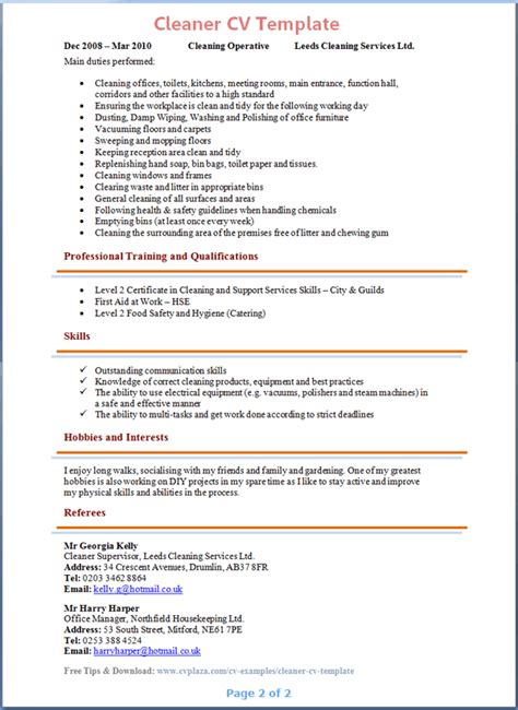 sle curriculum vitae for cleaner cleaner cv template 2