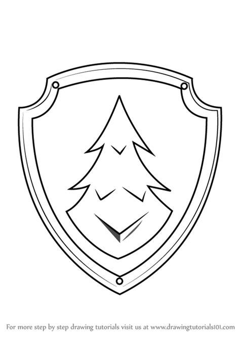 learn   draw everest badge  paw patrol paw patrol step  step drawing tutorials