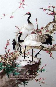 Red Crowned Cranes, silk hand embroidered artwork, Chinese ...