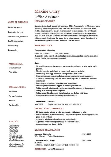 office assistant resume administration exle sle