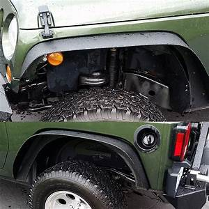 Turbosii Flat Style Front And Rear Fender Flares Kits For 2007 2015 Jeep Jku Rubicon Wrangler