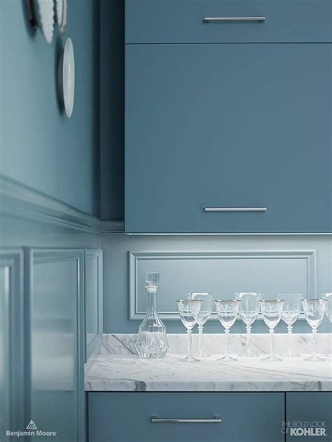 benjamin moore providence blue  cabinets paint