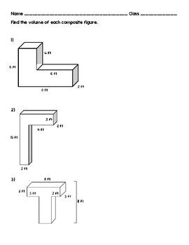 volume of composite figure worksheet by danielle mottola tpt