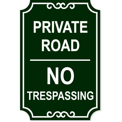 private road  trespassing engraved sign