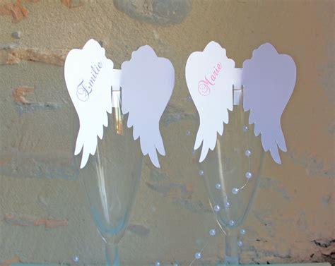 lot de 5 marque place aile d ange sur verre personnalis 233 pour bapt 234 me communion anniversaire