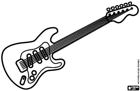 Electric Guitar Coloring Page Az Pages Sketch
