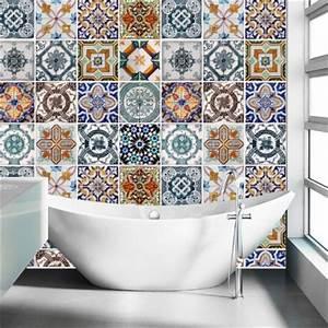 carrelage adhesif pour salle de bain modele portugais With carrelage adhesif salle de bain avec lit led blanc