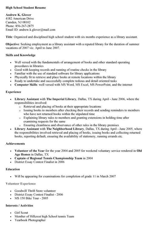 18651 exles of resumes for high school students student resume skills exles exles of resumes