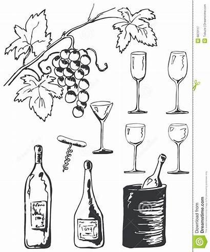 Wine Doodles Doodle Vino Insieme Dell Vastgestelde