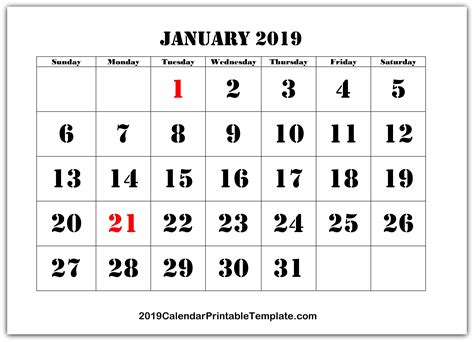 January 2019 Calendar Printable Template With Holidays Pdf
