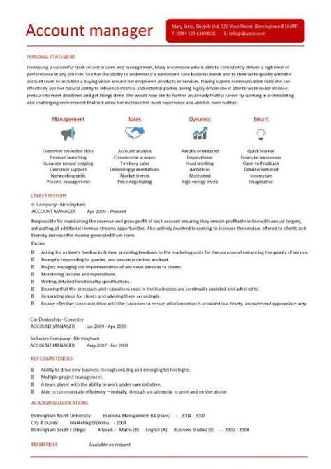 account manager cv template sle job description