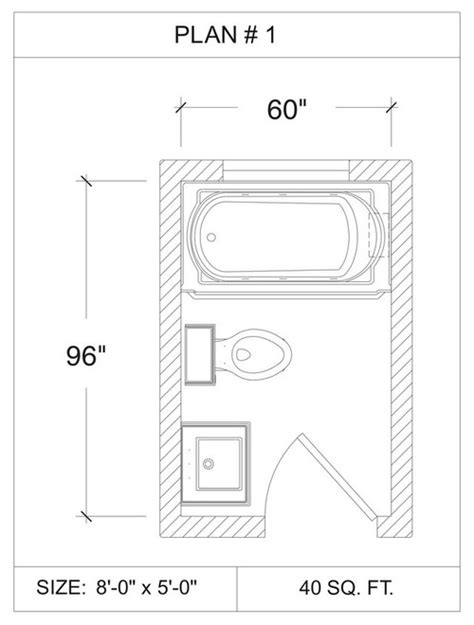5x8 Bathroom Floor Plan by Tub Size For 5 X 8 5 Bathroom