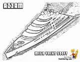 Coloring Boat Yacht Ship Yachts Azzam Boats Motor Boys Yescoloring Printable Power Sheet Drawings Superyacht sketch template