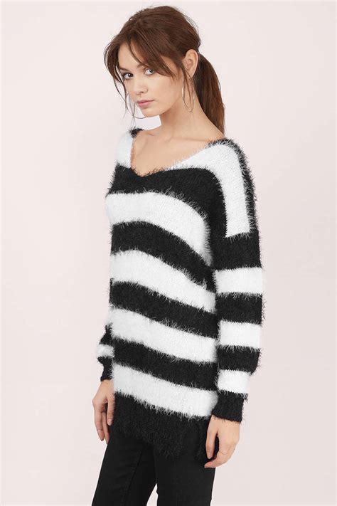 black and white striped sweater grey sweater stripped sweater a line sweater